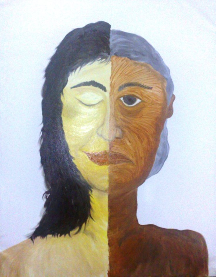 """Muda menutup mata, tua merana"", Karya: Moses Foresto, 2010, Oil on Canvas, 110cmX140cm."
